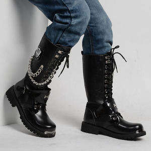 Image 3 - OUDINIAO bottes militaires pour hommes, bottes militaires hautes, bottes de Combat, mi mollet, chaîne métallique, moto Punk, printemps chaussures pour hommes, Rock