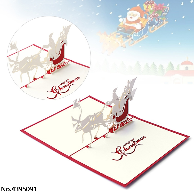 Beautiful 3d Pop Up Santas Sleigh Greeting Card Merry Christmas Wedding Postcard Gift Hot Bands Without Stones Jewelry & Watches