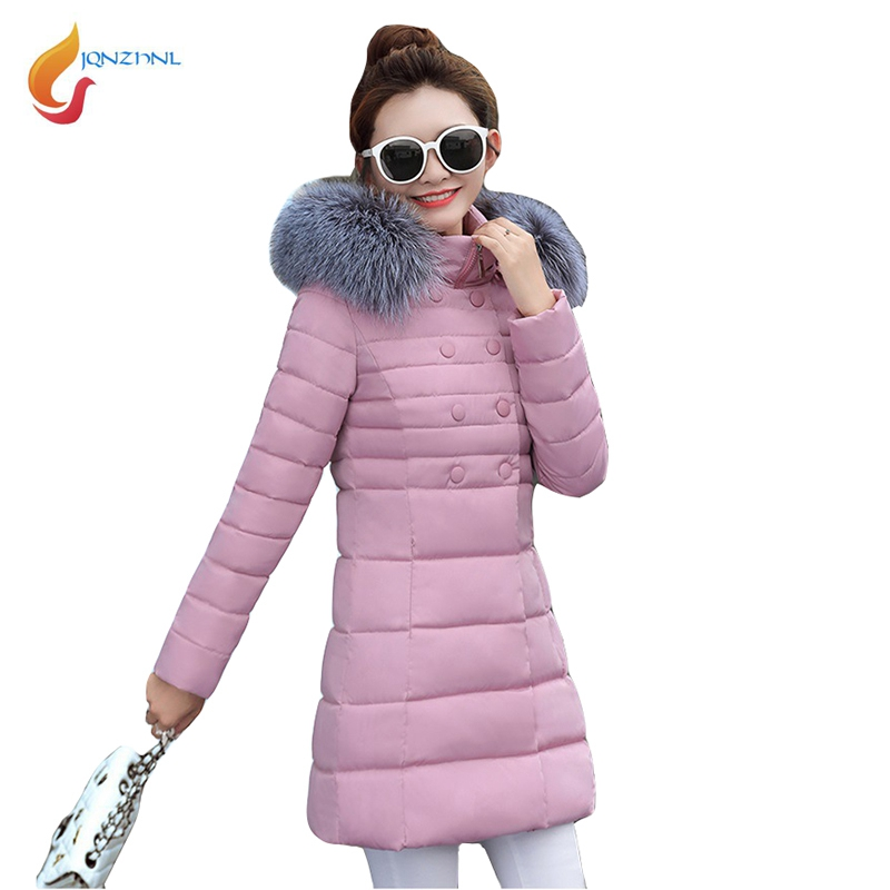 JQNZHNL Women Big Fur Collar Hooded Cotton Coat 2017 New Winter Parkas Medium Long Double Breasted Warm Cotton-padded Coats L729 2017 winter new clothes to overcome the coat of women in the long reed rabbit hair fur fur coat fox raccoon fur collar