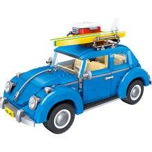 1167 unids Creador Series Ciudad Coche Volkswagen Escarabajo Modelo Building Blocks Ladrillos Compatible Bordo LegoINGlys Juguetes para Los Niños