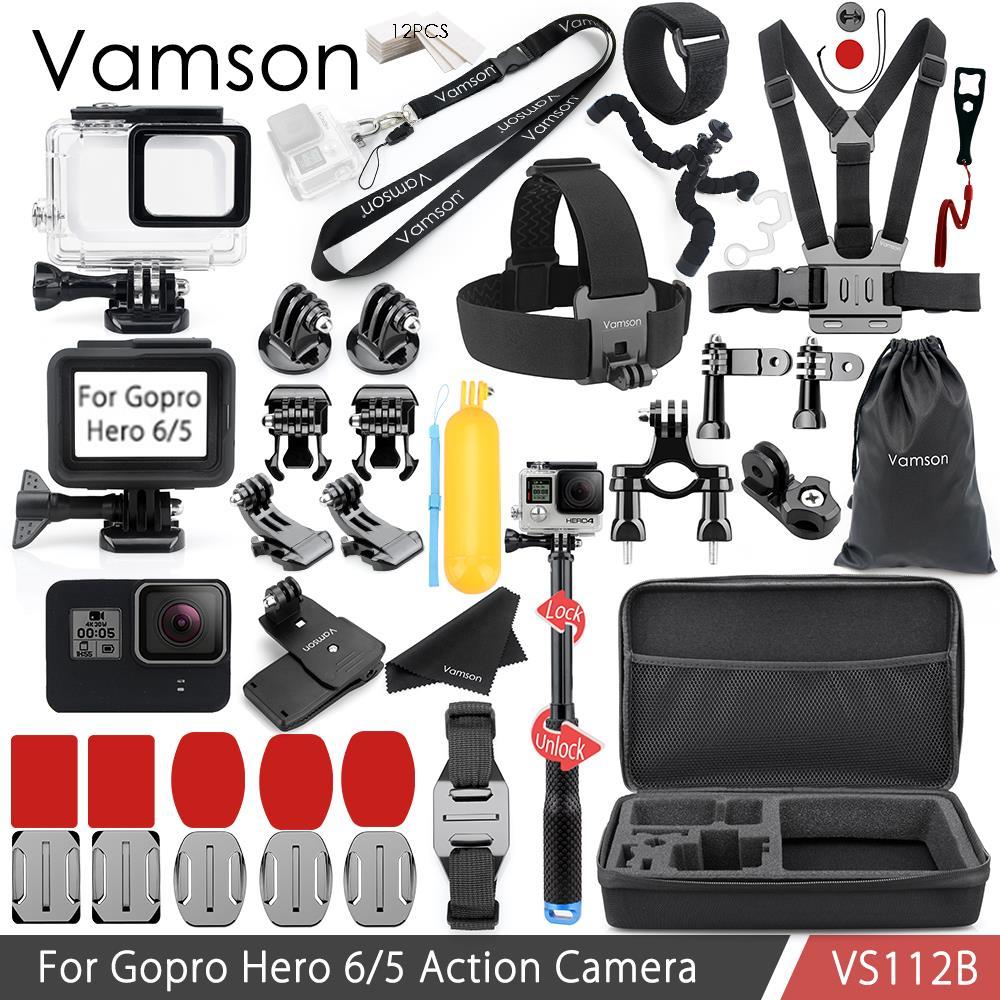 Vamson pour Gopro accessoires Kit pour Gopro Hero 6/5 boîtier étanche boîtier cadre Standard sangle de cou VS112B