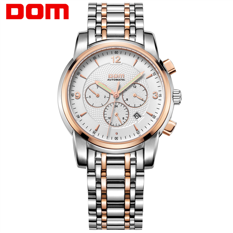 Men Watches DOM Automatic Mechanical Stainless Steel Business Hot Sport Waterproof Watch Gold Luxury Man Reloj Masculino M-813