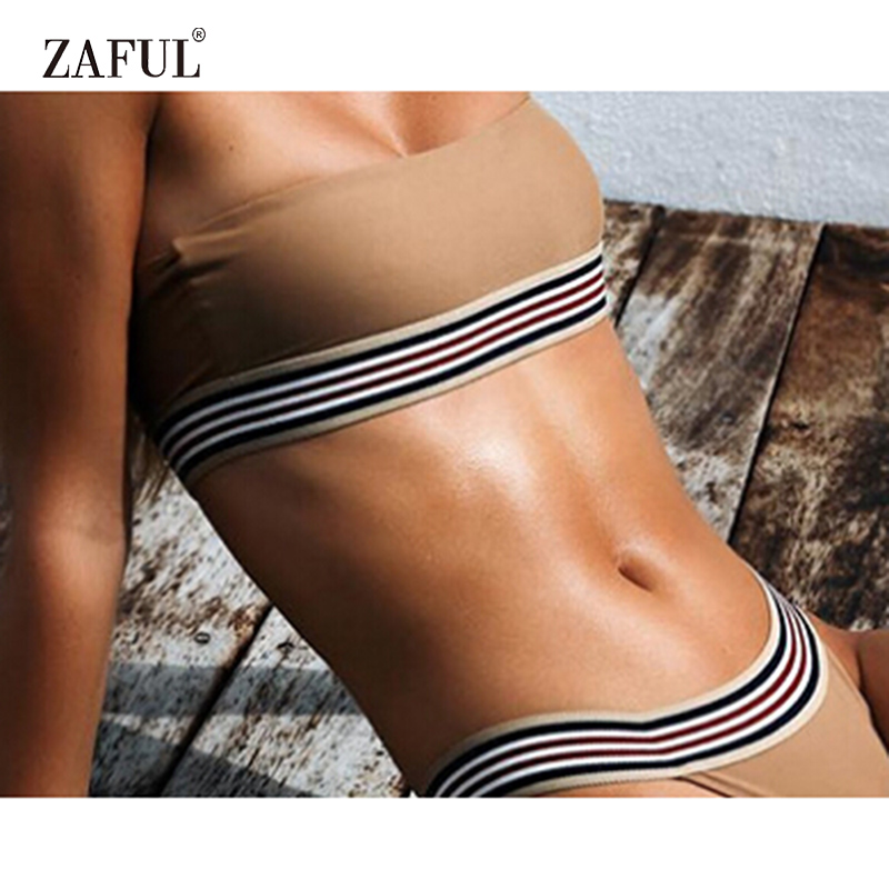 ZAFUL Bikini 2018 Sexy Bandeau Swimwear Women Backless Swimsuit Padded Stripe Low Waist Women BathingSuit Biquni maillot de bain