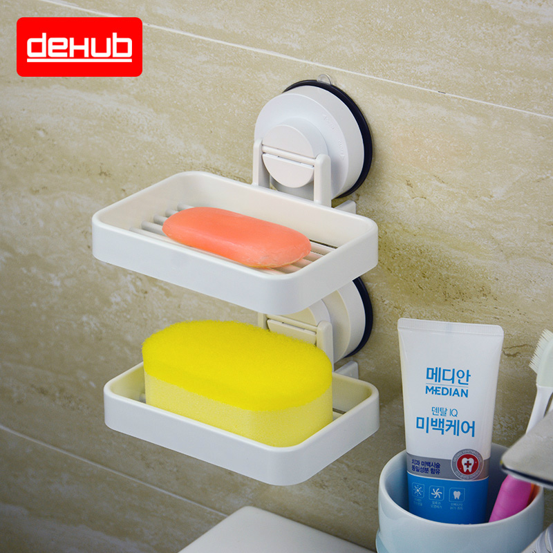 Dehub Suction Cup Soap Holder Plastic Bathroom Soap Dish For Bathroom Accessories Bathroom Soap Holder Soap Tray In White in Storage Shelves Racks from Home Garden