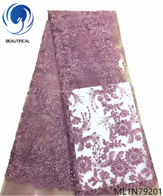 Beautifical beaded lace fabric net lace fabrics tulle lace fabric african 2019 with sequins and beads hot sales 5 yards ML1N792