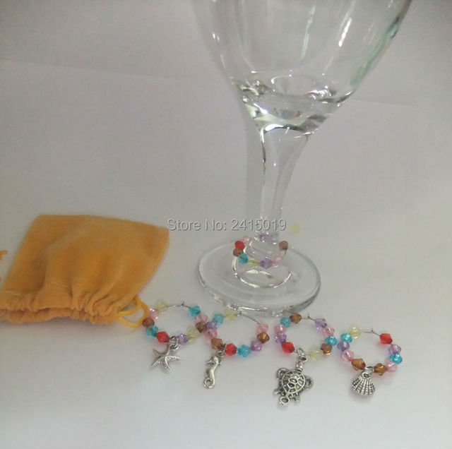 Free ship 6x summer beach holiday theme party wine glass charm free ship 6x summer beach holiday theme party wine glass charm marker wedding table decoration decorating junglespirit Image collections