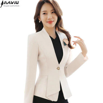 2017 autumn winter women long sleeve blazer plus size fashion office formal female jacket work wear slim outerwear Beige Black