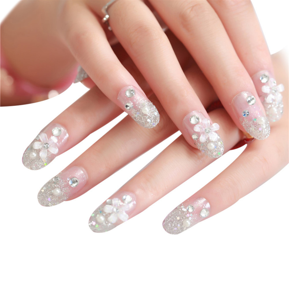 24Pcs Rhinestone Pearls Fake Nails Diamond Flower Bride False Nail ...