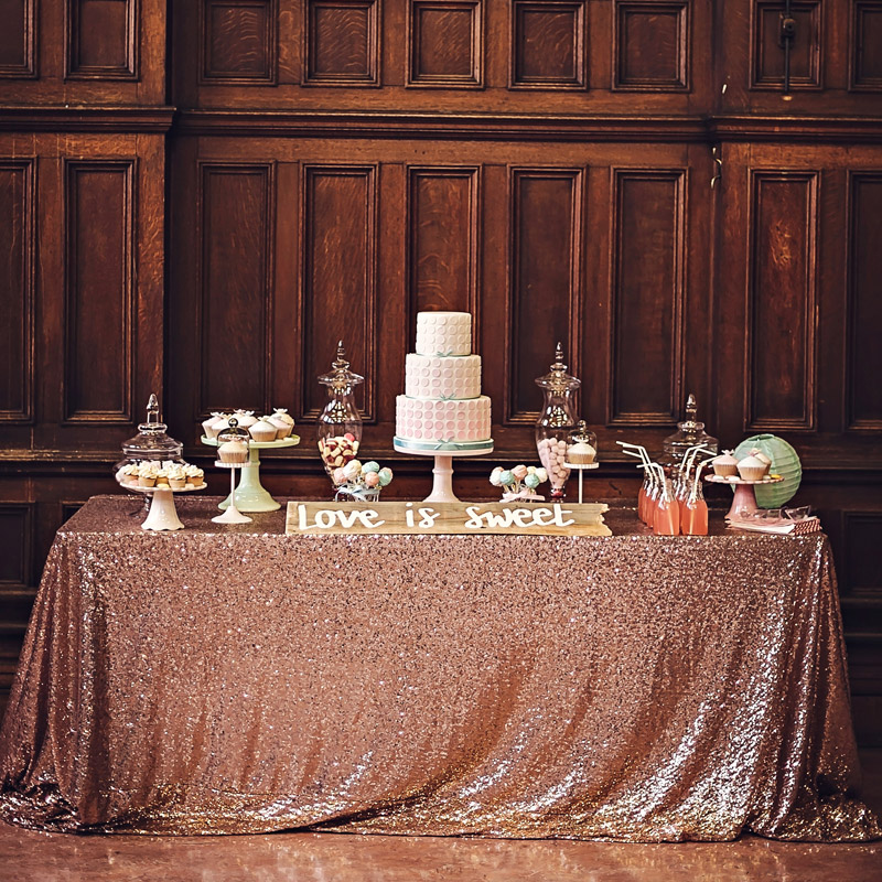 Wedding Party Table Decorations Sparkling Sequin Table Cloth Rose Gold  Silver Tablecloth Rectangular / Round Supplies In Tablecloths From Home U0026  Garden On ...