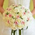 Envío Libre, Venta caliente de la Seda Artificial Novia Manos Que Sostienen la Flor de Rose Ramo de Novia de La Boda Envío de La Gota, WQ0009
