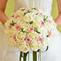 Free Shipping, Hot Sale Silk Artificial Bride Hands Holding Rose Flower Bridal Bouquet Wedding Drop Shipping, WQ0009