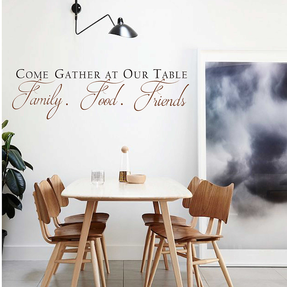 Come Gather at our Table Decal Quotes Wall Sticker Vinyl Dining Room Wall Art Kitchen Quote Wall Decals Dining Room Decor 661Q