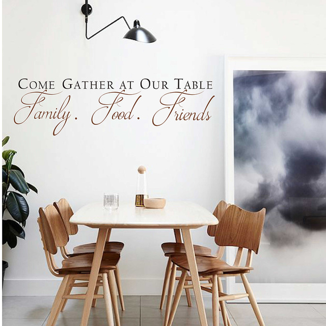 Datang mengumpulkan di meja kami harga wall sticker vinyl decal makan room wall art kitchen penawaran