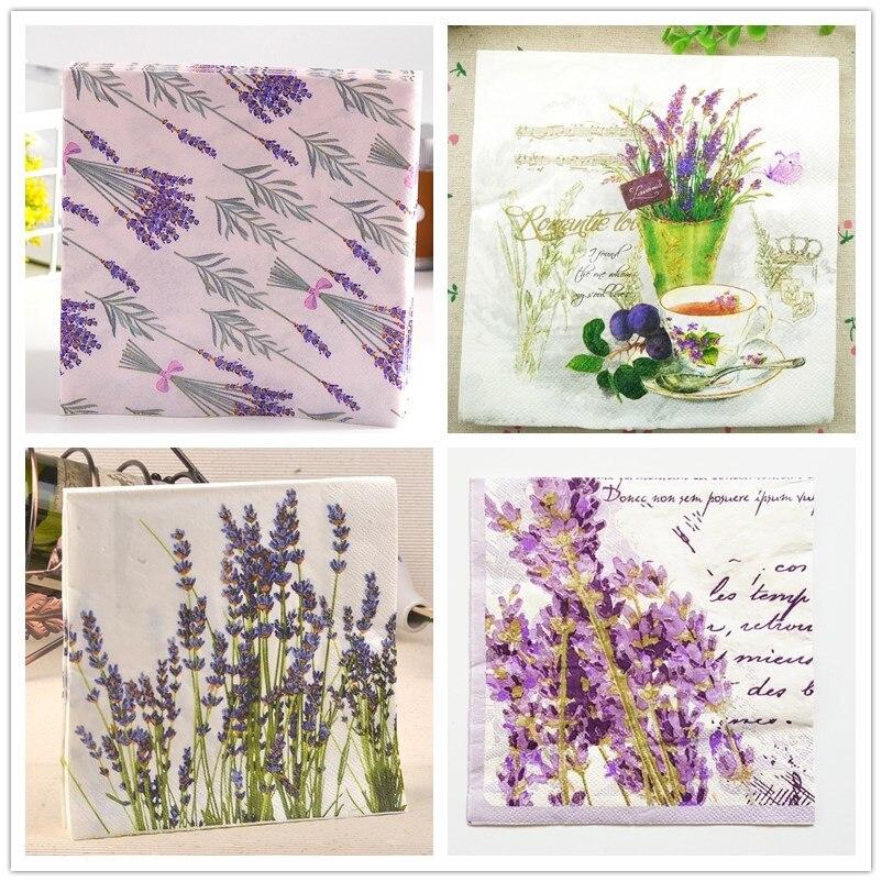 20 Vintage Napkin Paper Tissue Printed Purple Flower Lavender Handkerchief Decoupage Servilletas Wedding Birthday Party Decor