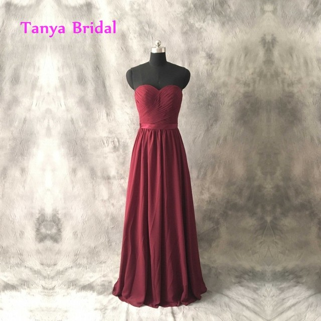 Sweetheart Chiffon Bridesmaid Dresses A Line Open Back Sleeveless Natural  Waist Pleat Floor Length with Sash 4c3824500bed
