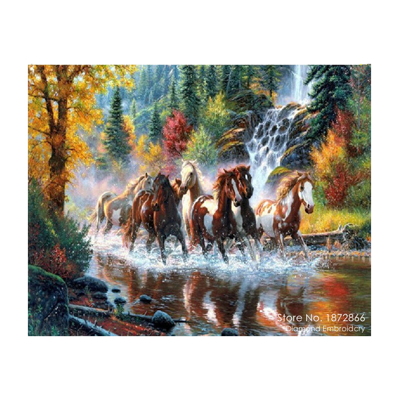 3D DIY Diamond Painting rhinestones set Embroidery resin craft red horse river paint Cross Stitch home decor Mosaic inlay Q446