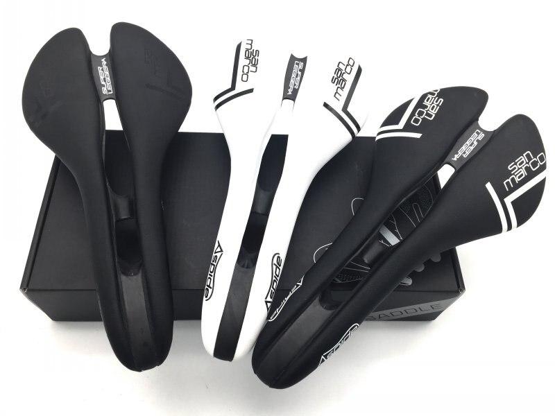 3 farben San Marco ASPIDE sattel rennrad schwarz weiß Kohlefaser Leder sättel fahrrad sillin bici Schiene bogen cushion120 +/5g