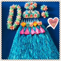 1sets/lot S827# Event & Party suppliers Hawaiian Hula Grass Skirt Flower Party Dress Beach Dance Costume Free Shipping