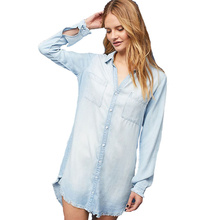 Autumn New Long Sleeve Blouse Fashion Tassel Denim Shirt New Modis Long Sleeve Shirt Dress Bohemian Beach Dress Sexy Vestidos long sleeve patch design suede insert denim shirt