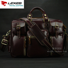 LEXEB Vintage Crazy Horse Leather Men's Briefcase 15 Laptop Business Travel Bag High Quality Duffel Totes With Pockets Wine