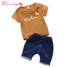 Baby Boy Clothes Stripe Fashion Baby Clothes Set 2PCS Fashion Boy T-shirt Summer Top Beach Denim Shorts T-shirt + Denim Shorts