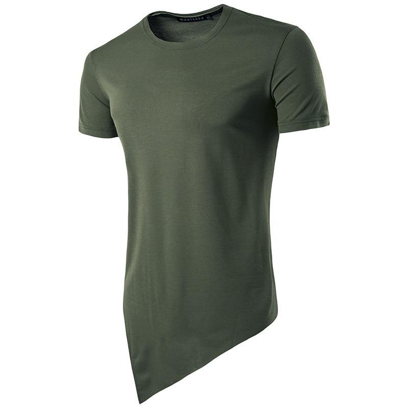 メンズ服傾斜裾不規則なデザインラウンドネックヒップホップ半袖 tシャツファッション tシャツ男性トップス 4 色