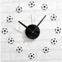 When Fun Sports Football Soccer Style DIY Wall Clock Creative Fashion Watches Football Clock Self Bell