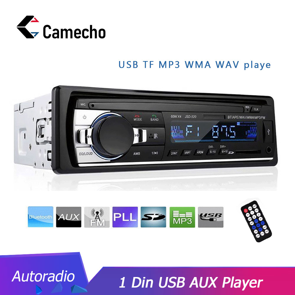 Camecho Autoradio JSD-520 12V Car Radio Bluetooth 5V Charger USB SD AUX Auto Electronics Subwoofer In-Dash 1 DIN Autoradio