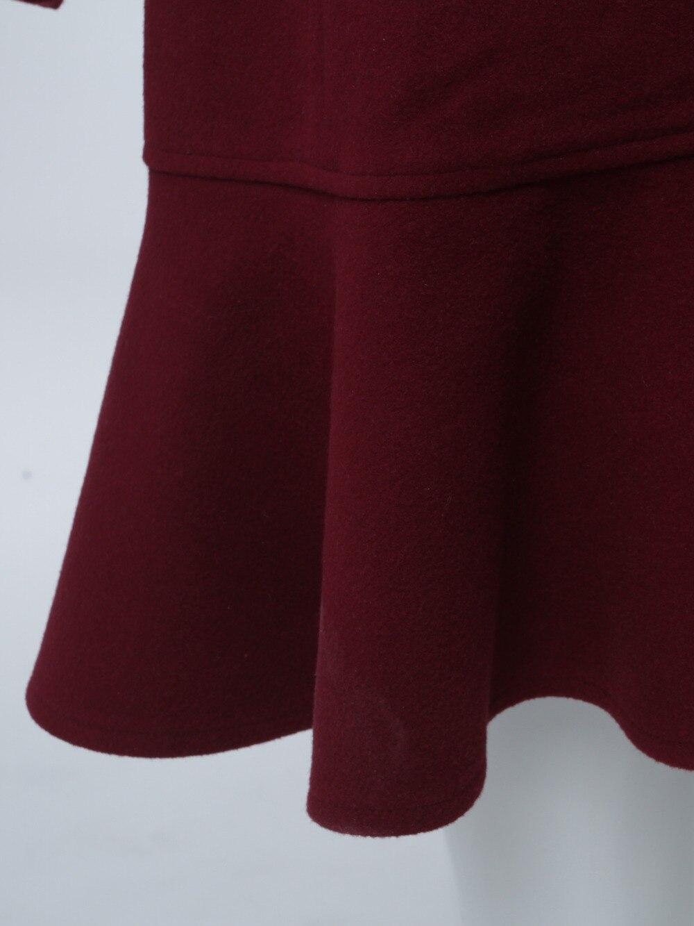 Sisjuly Pardessus Burgundy Vin Double Causal Mode D'hiver Manteau Femmes Falbala Mince Vintage Femme Outwear Longueur Élégant Mi À Boutonnage rq6FrwU