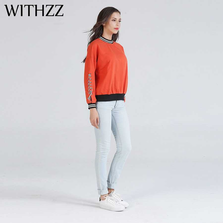 WITHZZ Autumn Winter Wild Loose Solid Color Pullover Top Plus Velvet College Wind Whiskey Harajuku Riverdale Poleron Sweatshirt