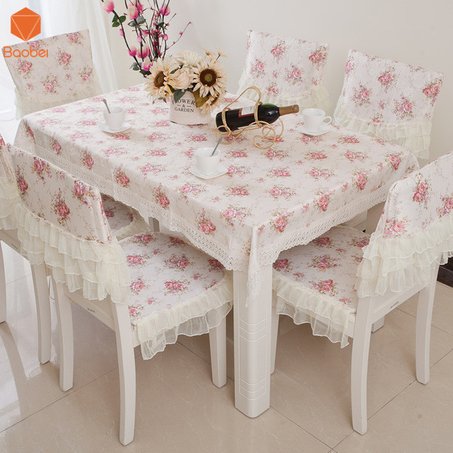 Pink Cute Lace Table Cloth Quilted Jacquard Lace Tablecloth Tables And  Chairs Set Cushion Chair Set