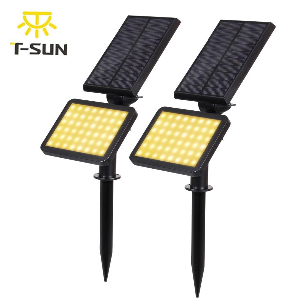 T-SUNRISE 2PACK Solar Light LED Adjustable Spotlight 48 LED Outdoor Lighting Waterproof Landscape Wall Light for Garden Yard