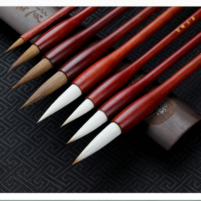 Weasel Hair Chinese Calligraphy Brushes Pen Woolen Hair Writing Brush Pen Set for Regular Script the Four Treasures of the Study 12 hooks hanging wooden wings brush calligraphy pen resting four treasures calligraphy frame accessories kit
