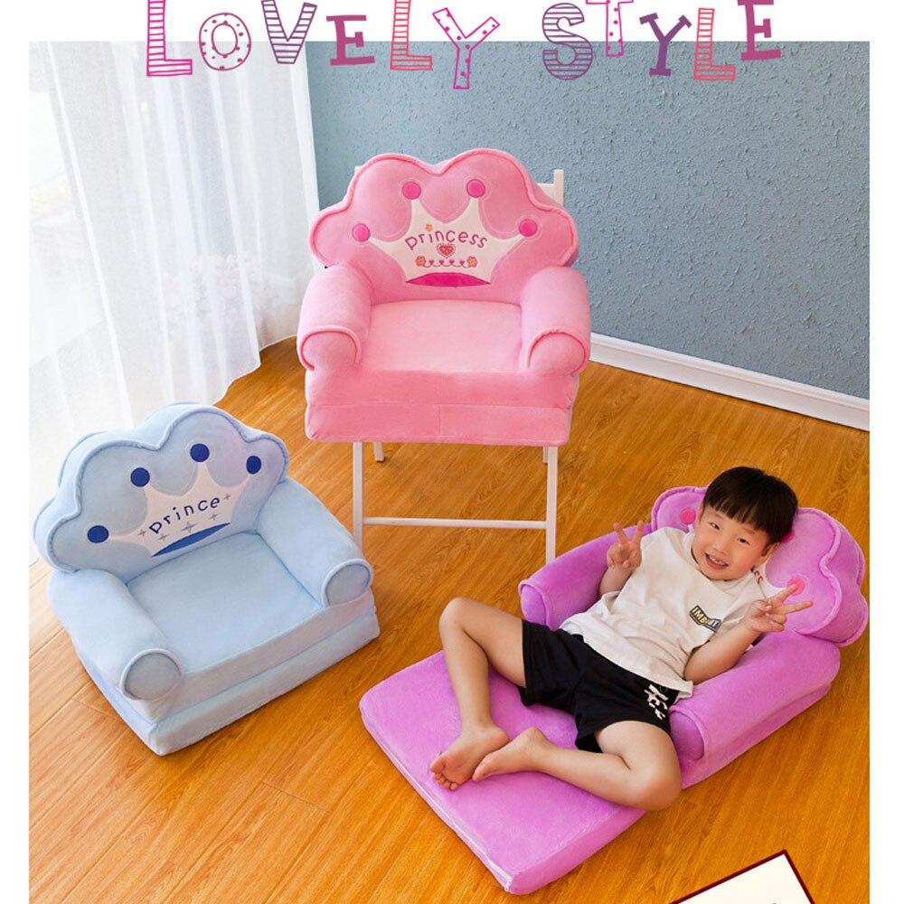 Foldable Baby Kids Sofa Children Cartoon Crown Princess Seat Chair Neat Puff Skin Children Lazy Backrest Plush Cushion Seats