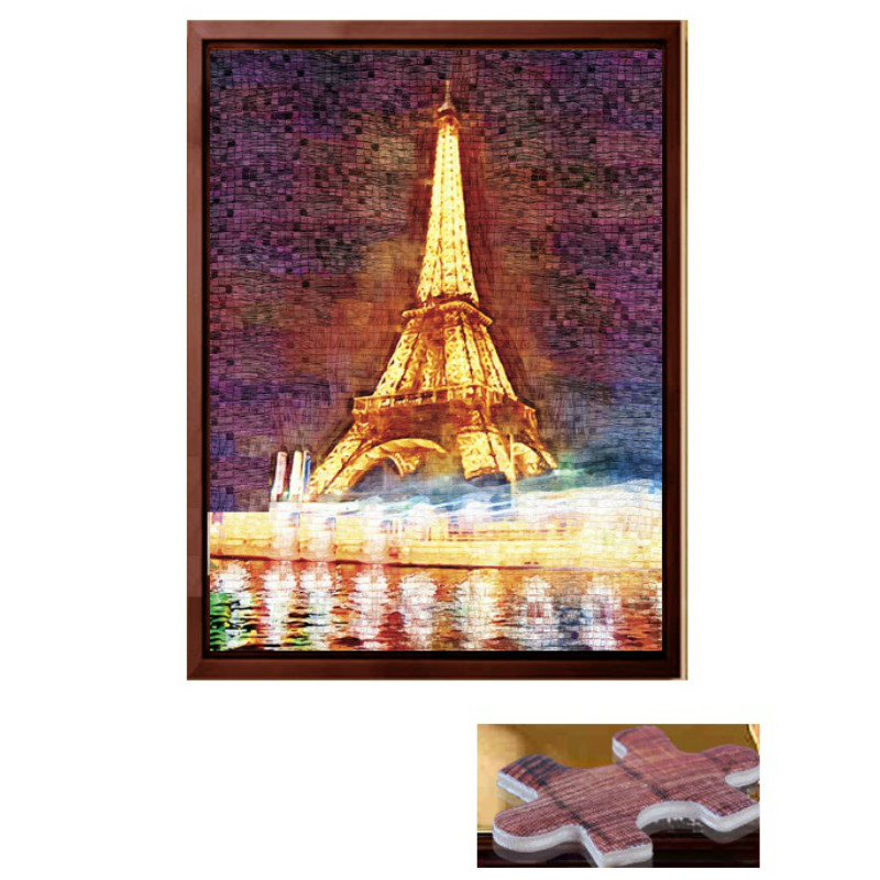 Mainan Pendidikan Produk Baru Eiffel Tower 3D Wooden Paper Jigsaw Puzzle 1000 Pieces For Adult