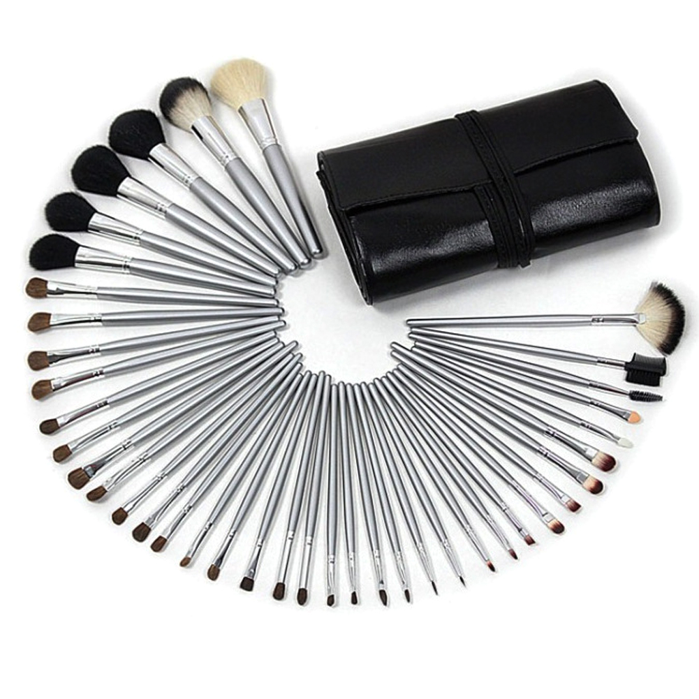 40 Pcs Professional Goat Hair Makeup Brushes Pincel Maquiagem Eyeliner Foundation Make Up Brush Cosmetic Tools with Pouch Case professional bullet style cosmetic make up foundation soft brush golden white