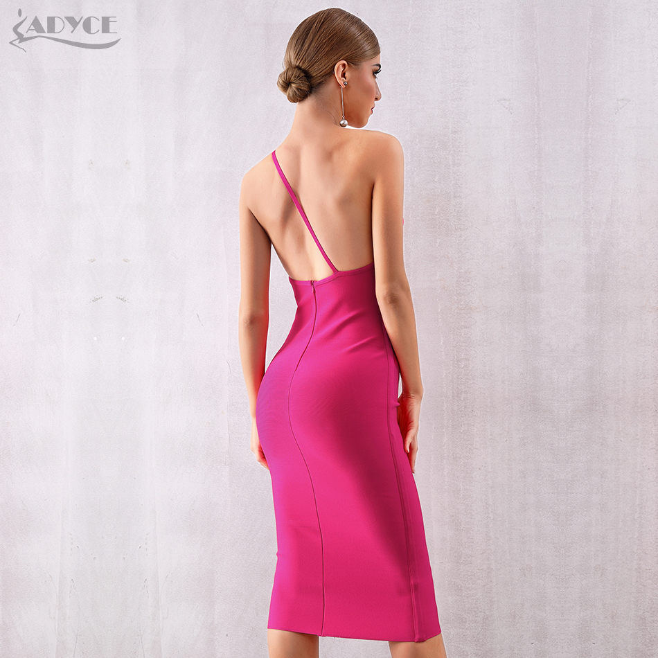 ADYCE 2019 New Summer One Shoulder Bandage Dress Women Vestidos Sexy Rose Red Spaghetti Strap Club Celebrity Runway Party Dress