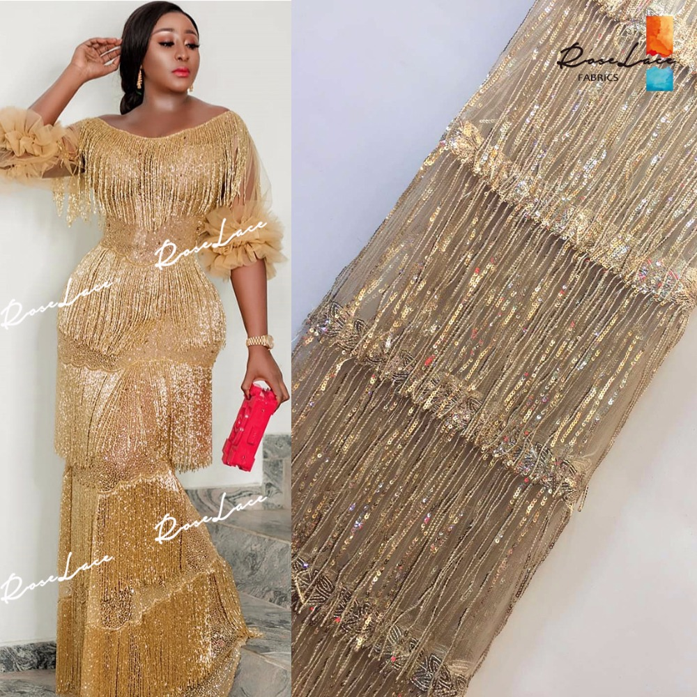 Unique Tassel Design African Sequins Net Lace Fabric High Quality 2019 Nigeria Indian Embroidery Guipure Mesh Gold Sequined Lace