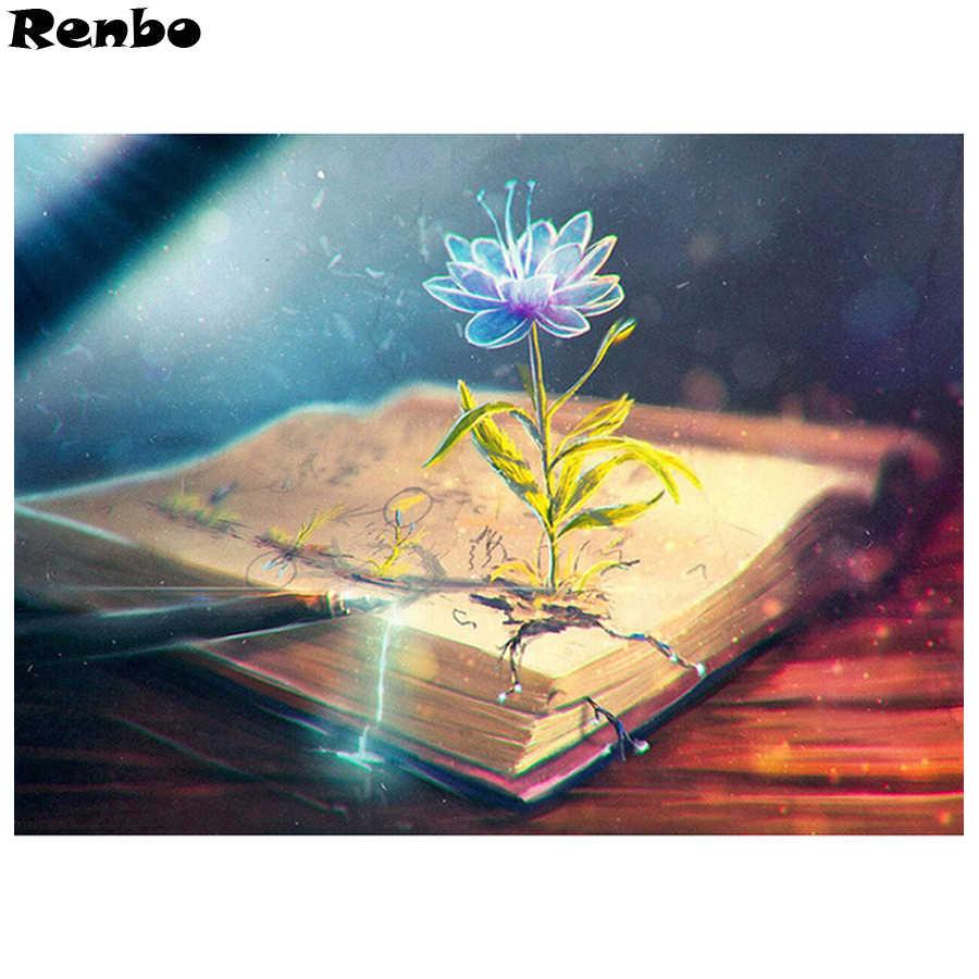 الخيال الفن الماس اللوحة كتاب الزهور diy بها بنفسك 5d الماس الفسيفساء الماس التطريز الكامل مربع الحفر المستديرة رمضان ديكور هدية