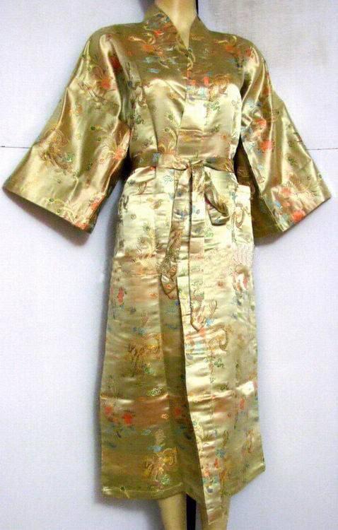 Hot Sale Gold Chinese Men's Polyester Satin Robe Dragon Phenix Kimono Bath Gown SIZE S M L XL XXL 3XL LDF-5