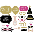 New Gold Shinning Happy Birthday Decoration Photo Booth 20pcs Paperboard Glasses Cupcake Funny Birthday Party Supplies