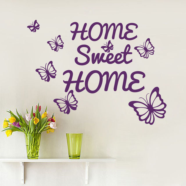 Wall Decals Quotes Home Sweet Home Butterfly Decal Living Room Decor Vinyl