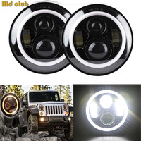 7 Inch 90W For Cree LED Daymaker Motorcycle Headlight DRL Halo Angel Eyes For Jeep Wrangler