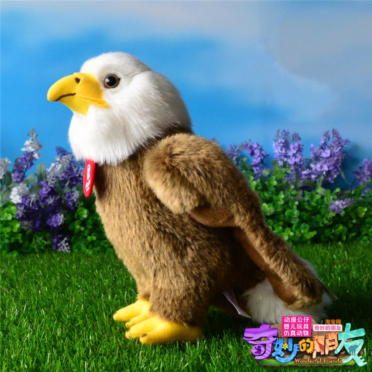 Free Shipping High Quality 25cm Simulation Bald Eagle Plush Toys Stuffed Animal Toy Soft Eagle Dolls For Kids fancytrader new style giant plush stuffed kids toys lovely rubber duck 39 100cm yellow rubber duck free shipping ft90122