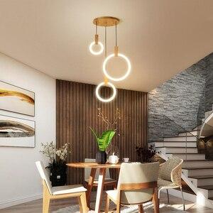 Image 4 - Post Modern İskandinav ahşap asılı ışık LED Hanglampen oturma odası merdiven otel Bar daire yuvarlak akrilik kolye ışıkları