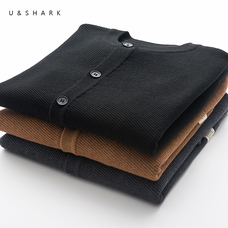 U&SHARK Spring Knitted Cardigan Sweater Man Clothes 2018 New Japan Style O-Neck Cotton Sweater Long Sleeve Casual Knitwear Male