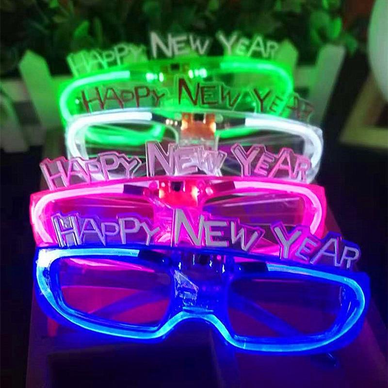 1pcs Happy New Year LED Flashing Glasses Glowing Eye ...