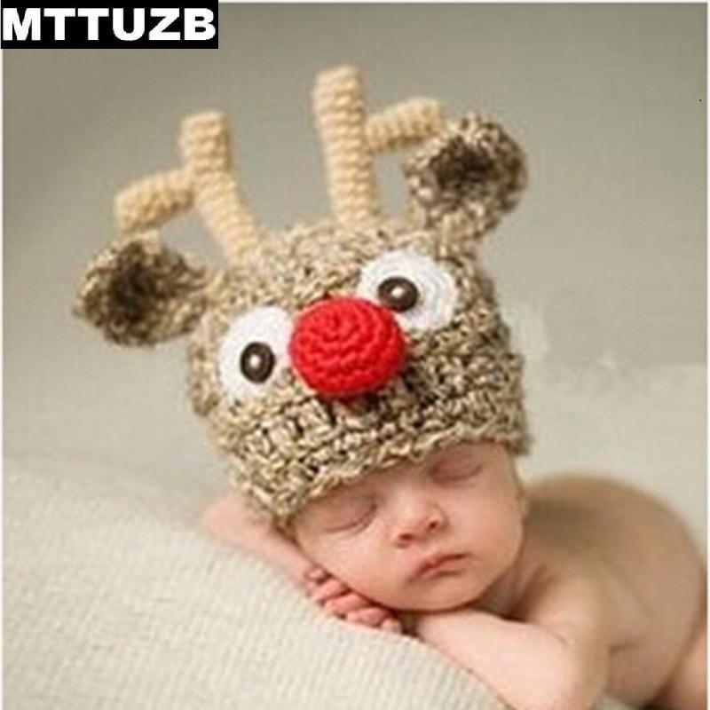 MTTUZB Fashion children cartoon deer knitted hat infant Crochet beanies newborn Photography Props baby boys girls photo props