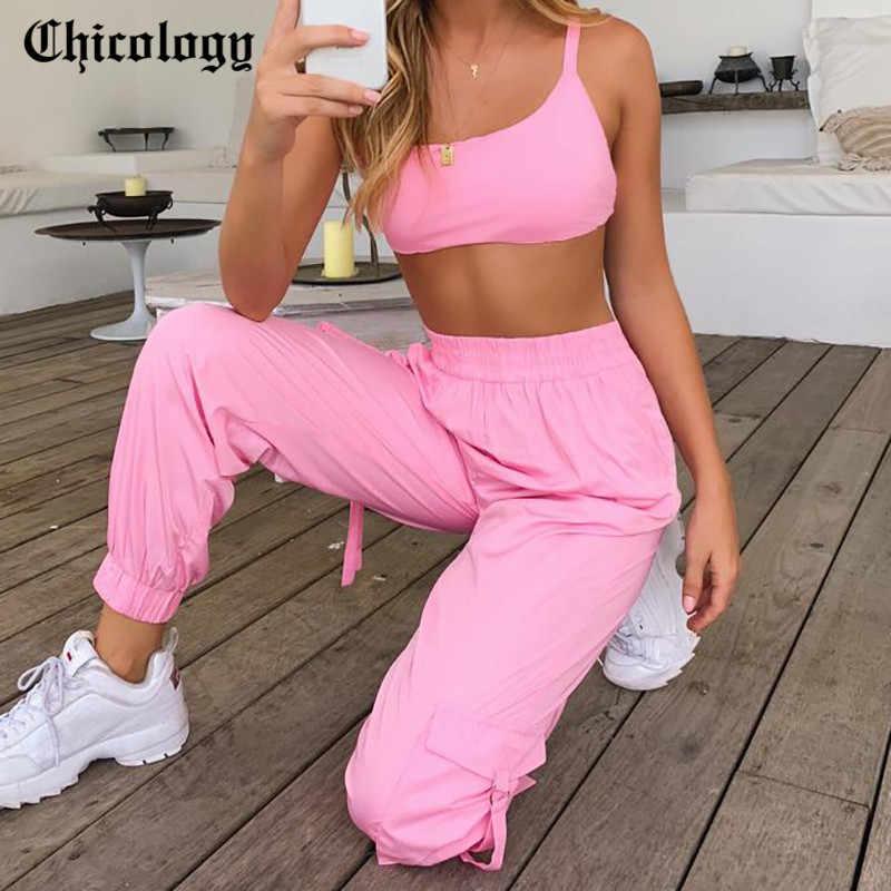 Chicology レースアップ作物タンクトップ貨物パンツツーピースセット 2019 夏秋の女性カジュアルトラックスーツの女性服