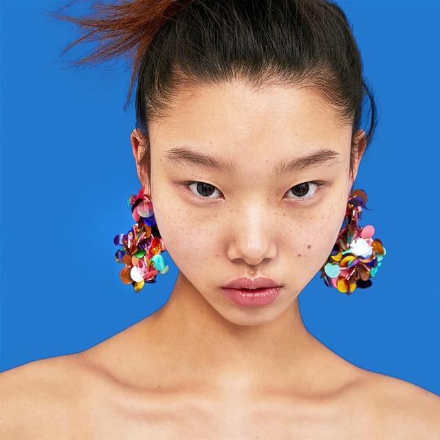 Colorful Sequins Flower Earrings